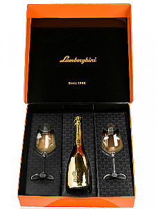 Lamborghini Gold Sparkling Wine w/Crystal Glasses 750ml
